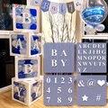 4 шт. белые прозрачные коробки для воздушных шаров с 30 буквами, 10 цифр, 5 символов, 49 шт., набор украшений для вечеринки, принадлежности, реквиз...