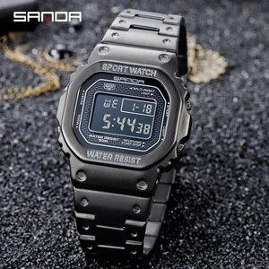 Image 3 - Часы наручные SANDA Мужские Цифровые, люксовые многофункциональные большие квадратные светящиеся циферблаты со стальным браслетом, 2020, 390