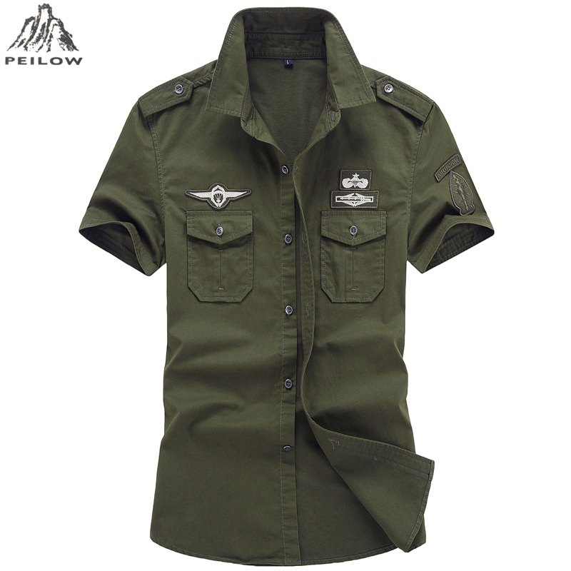 Man's Aviator Shirt 2019 Camisa Masculina 100% Cotton Air Force One Army Tactical Shirt Cotton Casual Military Style Shirts 6XL