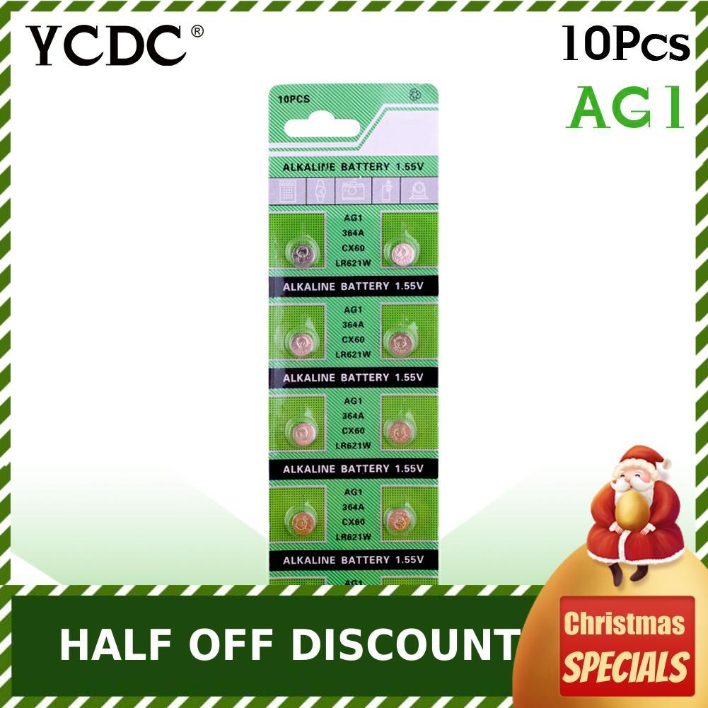 Cheap 10 Pcs AG1 364 LR621 164 531 SR60 SR621SW Pile 1.55V Alkaline Watch Coin Cell Battery Pilha  Watch Batteries