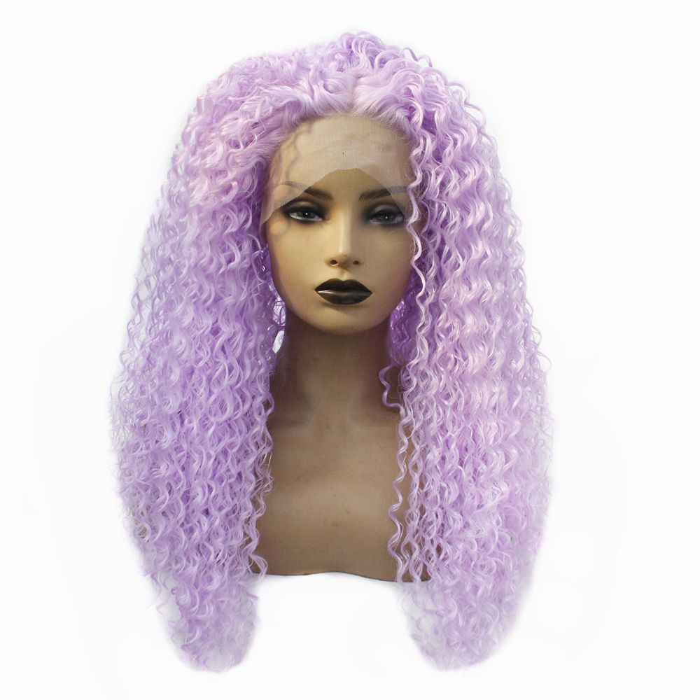 Long Kinky Curly Swiss Lace Wigs Purple Color Heat Resistant Fiber Women Wig Glueless Synthetic Lace Front Wig with Baby Hair