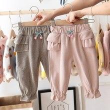 Модные осенние штаны для маленьких девочек повседневные брюки с оборками и вишнями одежда для маленьких детей длинные штаны принцессы S9693