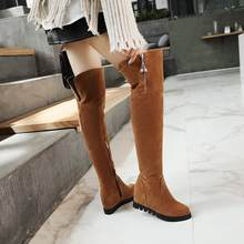 Over The Knee Boots Snow Round Toe Long Shoes Woman Short Plush Thigh High Heels Brown Wedge Green Womens Size 42 Yellow Green(China)