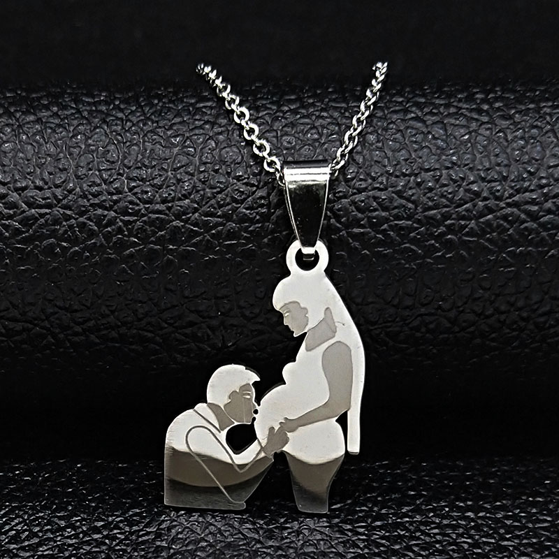 Mom Daughter Stainless Steel Chain Necklace Silver Color Necklaces Pendants Jewelry mujer Mother's Day Christmas Gift N539S01 22