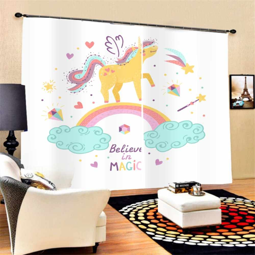 Window Curtain Magic Unicorn Print 2 Panels 3D Polyester Black-out Curtain for Kids/Girls,Bedroom Living Room Kitchen,Large Size