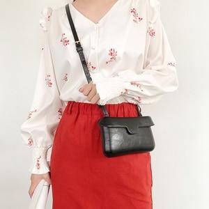 Image 4 - Small Square Messenger Shoulder Bags Leather Flap Simple Designer Handbags Vintage Casual Crossbody Bag For Women 2020