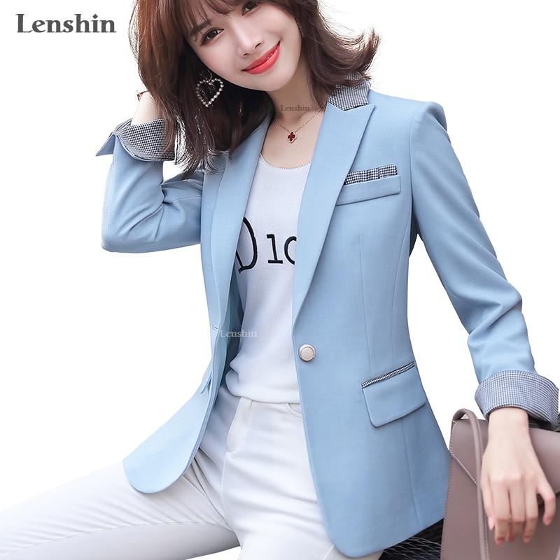 Lenshin Women Elegant Fashion  Jacket With Pockets Blazer Keep Slim Single Button Office Lady Contrast Color Coat Outwear