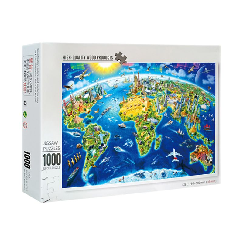 1000 Pcs/Pack Beautiful World Landmarks Map Puzzle Wood Jigsaw Assemble Puzzles Toy Games For Adult