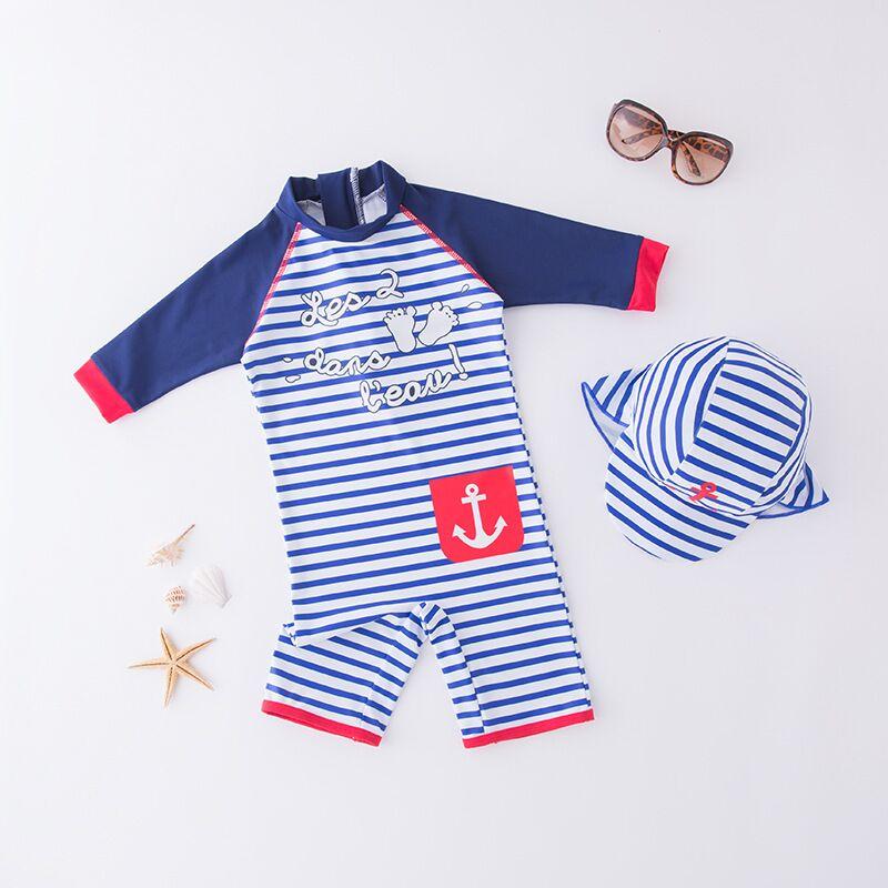 Navy Stripe Blue Boys Girl Kids UnicronSwimsuit Beach Wear Sun Protection Summer Outfits Vacation Swimwear Swim Hats Anchor