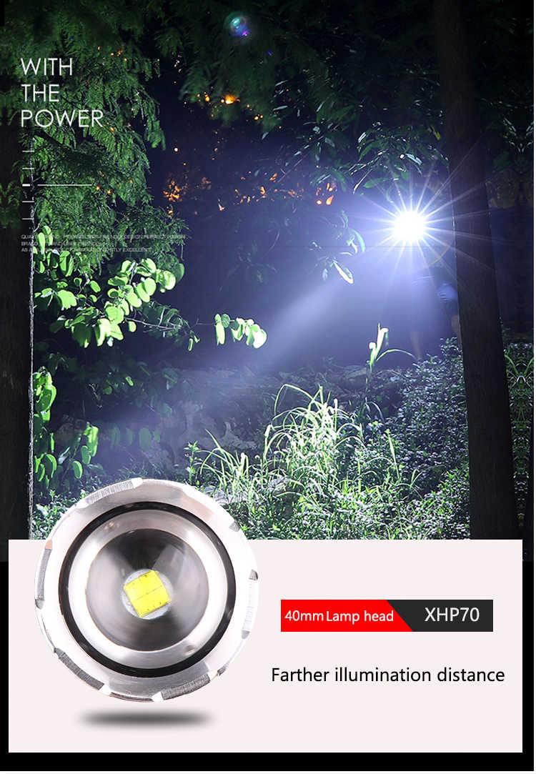 Linterna LED súper brillante XHP70.2 linterna LED recargable USB linterna Zoomable linterna XHP70 XHP50 de 18650