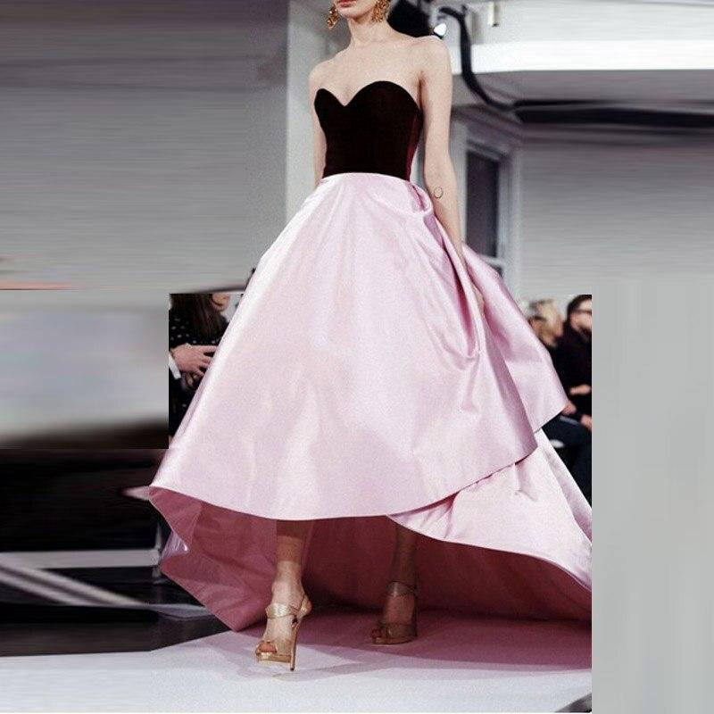 Burgundy Prom Dresses High Low Pink Satin Formal Evening Dress 2017 Custom Made Vestidos De Festa Vestido Longo Para Casamento