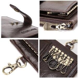 Image 5 - CONTACTS en cuir véritable hommes clé portefeuille avec fermeture à glissière porte monnaie crédit support de carte rfid court portefeuille affaires mâle voiture porte clés