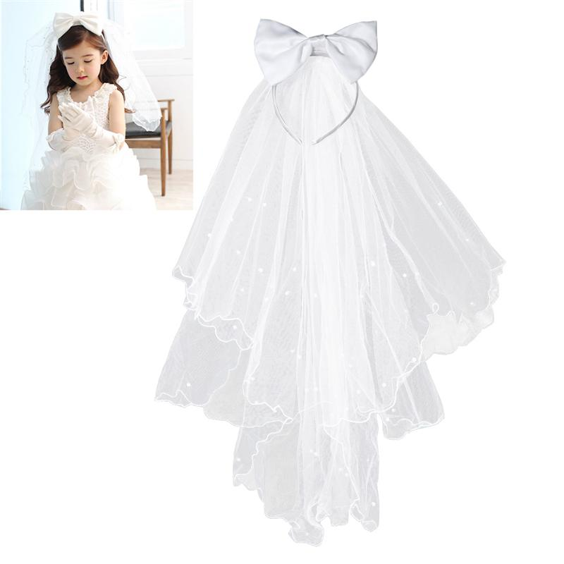 Flower Girl Bridal Veils White Wedding Bridal Veils First Communion Hair Wreath With Bow For Bride Marriage Wedding Accessories