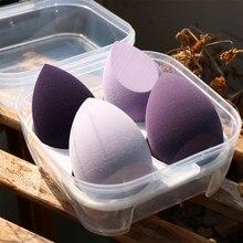 4/1pc maquiagem blender cosméticos puff maquiagem esponja com caixa de armazenamento fundação pó esponja ferramenta de beleza feminino compõem acessórios