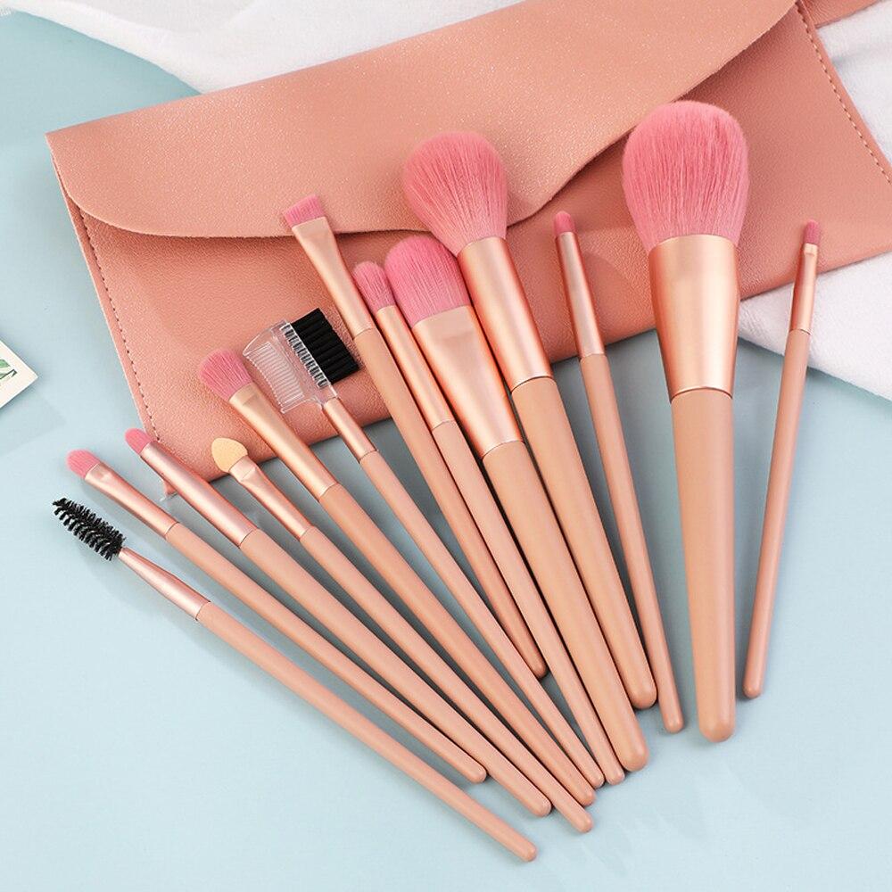 12 Uds pinceles de maquillaje de color rosa conjunto de sombra de ojos Blush en polvo Fundación delineador de ojos pestañas maquillaje de labios cepillo cosmética herramienta Kit con bolsa