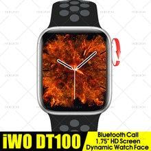 1.75 polegada relógio inteligente iwo dt100 série 6 bluetooth chamada freqüência cardíaca cara personalizada à prova dpk água relógio inteligente pk 16 w26 fk100