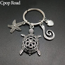 Cpop New Creative Silver Ring-holder Keychain Turtle Shell Pendant Wallet Bag Pocket Car-keys Men Women Jewelry Accessories Gift(China)
