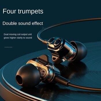 Quad Core Dual Dynamic auricular con cable de 3,5mm con Subwoofer de micrófono reducción de ruido impermeable auricular controlado por cable