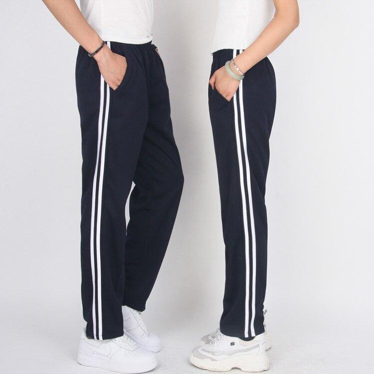 School Uniform Pants MEN'S Trousers Pants Straight-Cut Large Size School Pants Blue White Edge Primary School STUDENT'S Strip Ed