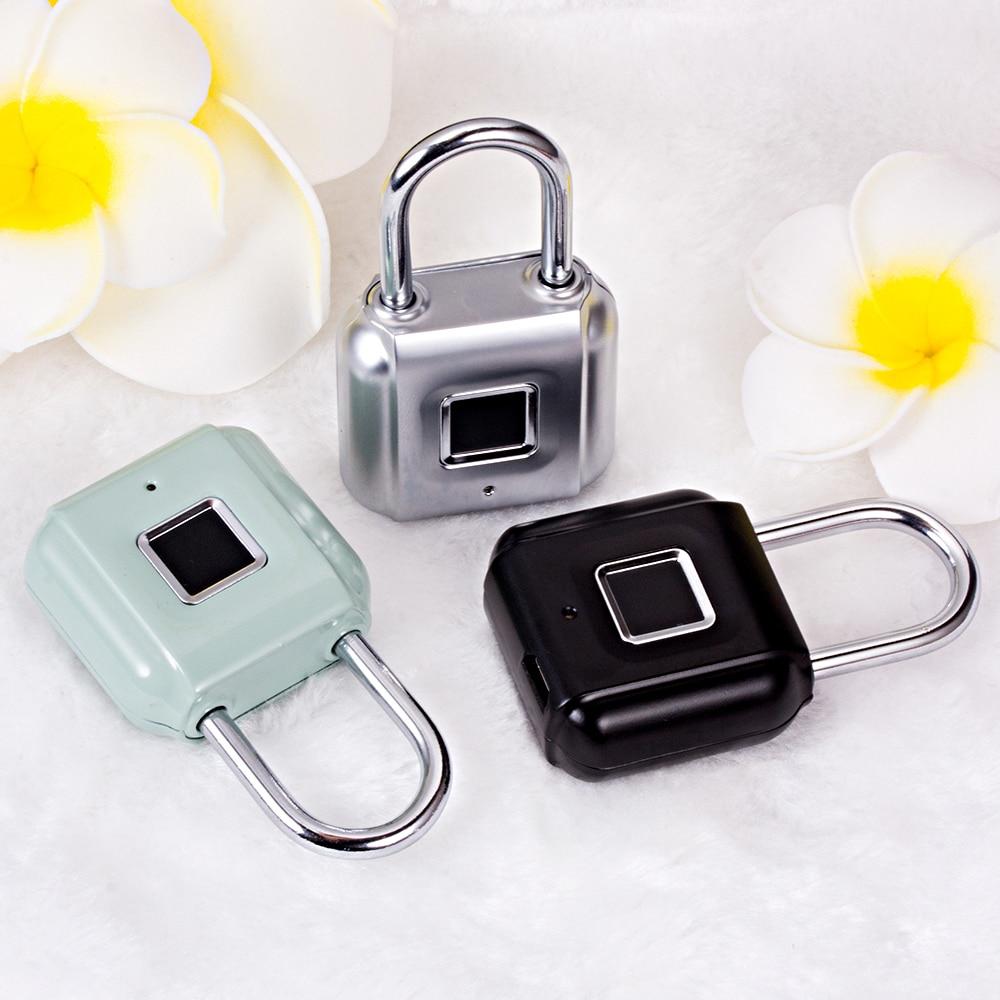 Golden Security  Fingerprint Door Lock Luggage Bag Keyless Door Lock USB Rechargeable AntiTheft Security Fingerprint Padlock