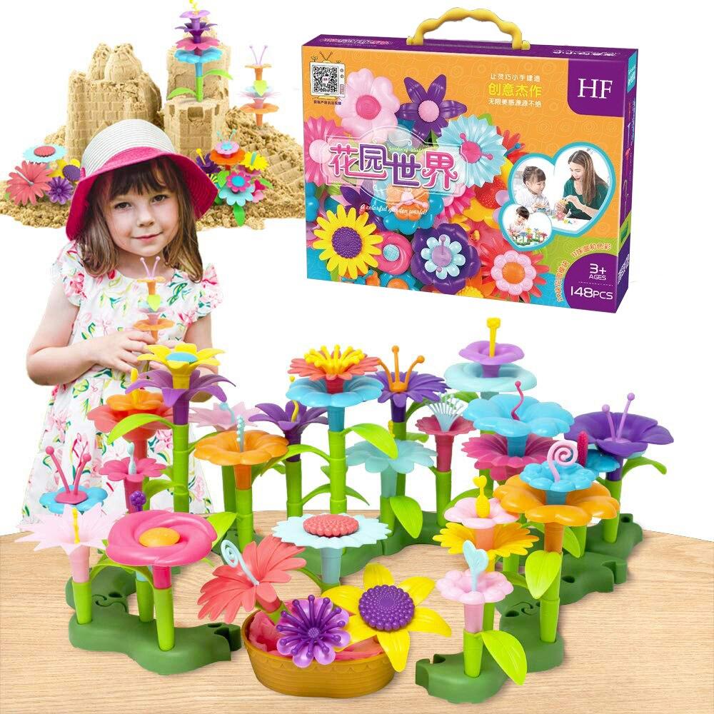 148pcs Building toys Bouquet Floral Arrangement block Playset - Construction Toys For girl Creative Fine Development Chirldren G