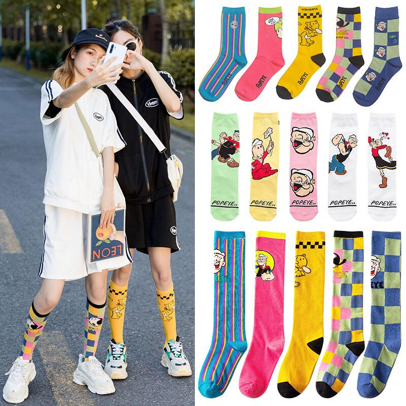 Fashion Cartoon Character Cute Short Socks Women Harajuku Cute Spinach Popeye Pattern Ankle Socks Hipster Skate Ankle Funny Sock