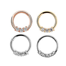 1Pc 1.2x8/10mm Cz Nse Hoop Nostril Nose Ring Tiny Helix Cartilage Four Diamonds Seamless Ring Hoop(China)