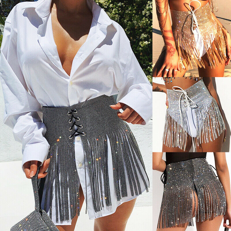 Sexy Party Skirt Large Sizes Womens Clothing New SummerBling Sequin Diamond Tassel Metal  Wrap Festival Club Mini Skirts