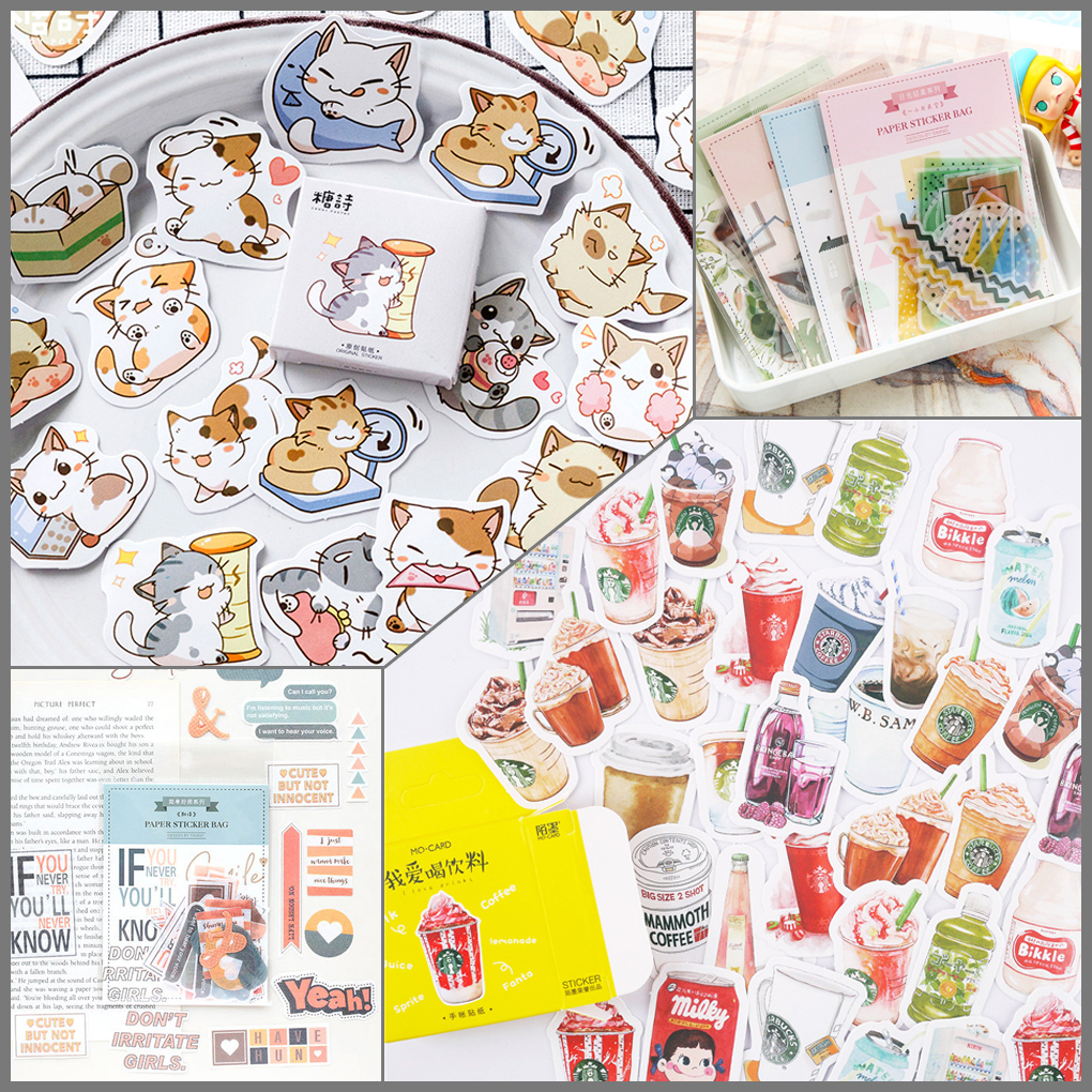 32 Designs 40/45/50Pcs Stickers Set Bullet Journal Vintage Lovely Sticker Decor DIY Scrapbooking Diary Planner Cute Stationery