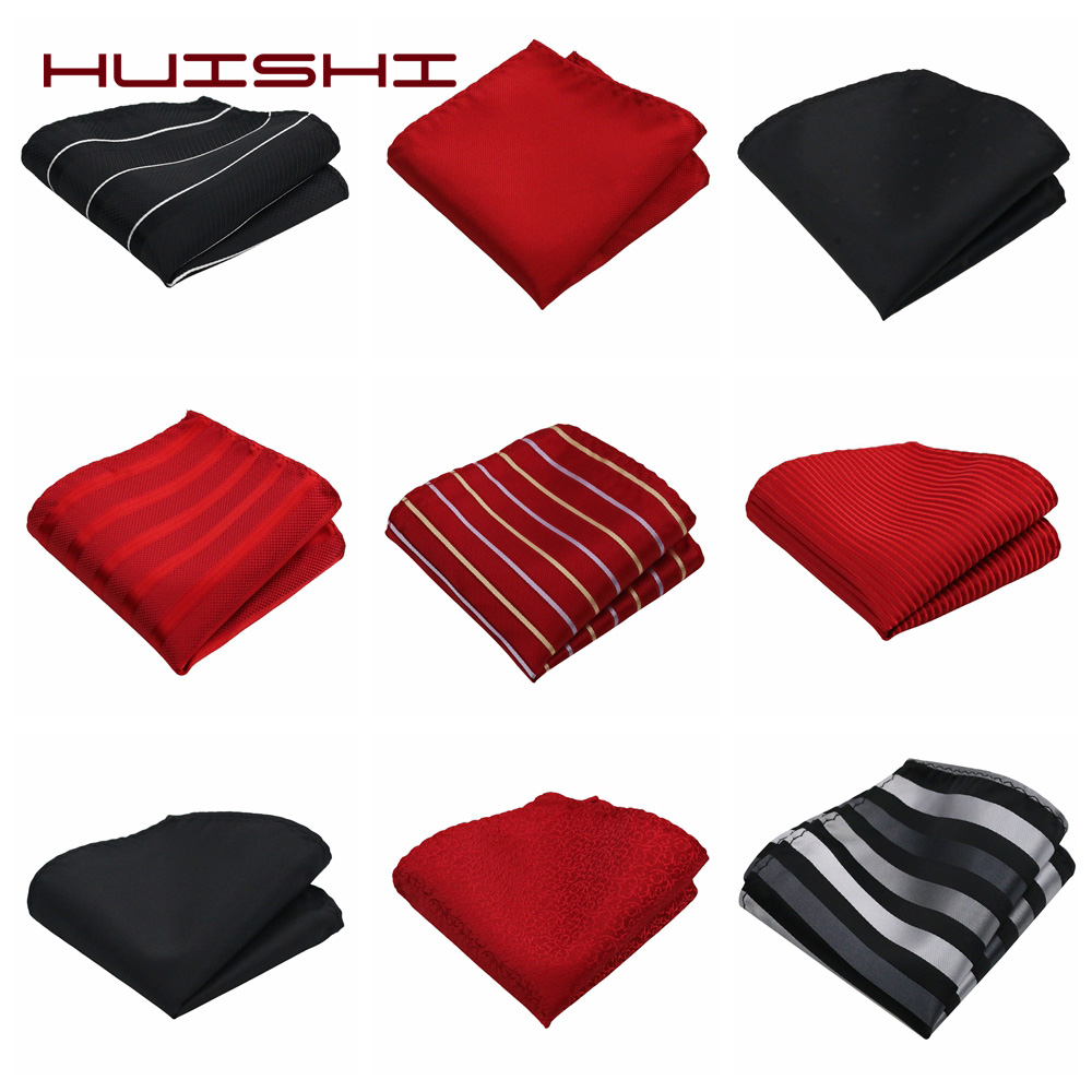 HUISHI Men's Handkerchief Pocket Square Polka Dot Striped Woven Hankies Polyester Pocket Square Business Chest Towel 22*22CM