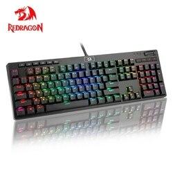Redragon K579 RGB USB Teclado mecánico del juego de interruptor azul Led retroiluminado 104 clave Anti-fantasma de PC con cable juego de ordenador