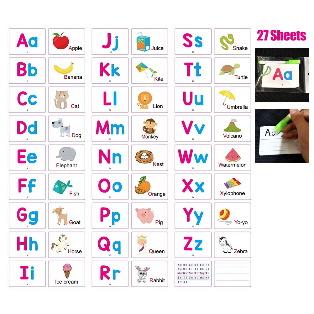 Baby Learning Alphabet Letter Montessori Animals Fruits Cognitive Cards Develop Intelligence Educational Toys With Erasable Pen