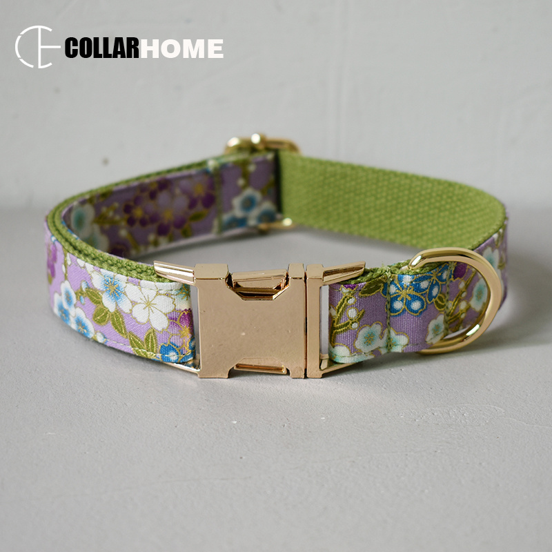 Nylon print bow dog collar flower for big small fabric with gold metal buckle tie pet leash straps