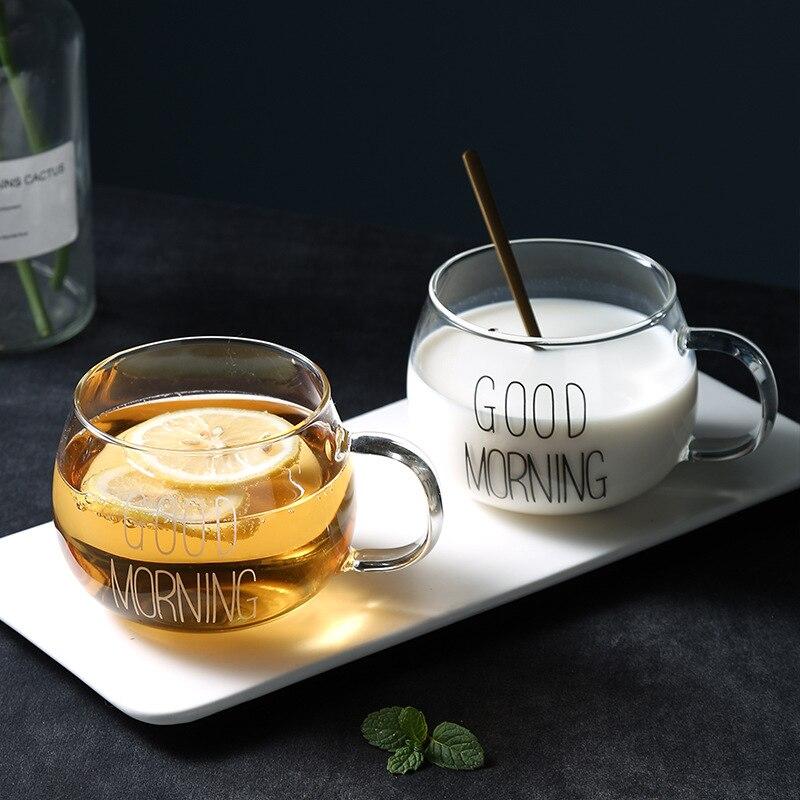 380ML Nordic Transparent Glass Cup High Breakfast Juice Cup Borosilicate Handle Coffee Mug Milk Mug Heat-resistant Water Cup
