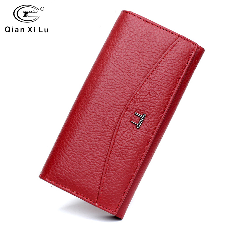 Qianxilu Brand Genuine Leather Wallet for Women,High Quality Coin Purse Female 2017leather wallet for womenbrand leather walletleather wallet -