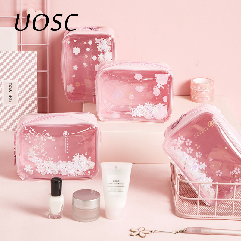UOSC Cherry Blossoms Sequins Makeup Case Cosmetic Bags Girl Pink Transparent PVC Travel Organizer Pouch Clear Make Up Bag Female