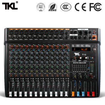 TKL professional audio mixer 12 channel stage DJ mixer with Bluetooth MP3 USB digital mixer