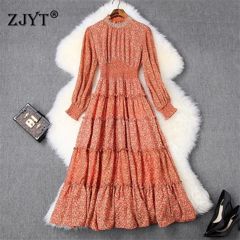 2020 printemps robe femmes mode piste Designers à manches longues perles à volants Vintage imprimé fleuri Midi vacances robe en mousseline de soie