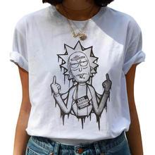 T-shirt damskie t-shirty Off biały kobiety Cartoon T-shirt Harajuku Ricky N Morty Tshirt graficzny T-shirt topy kobieta T-shirt kobieta tanie tanio Krótki O-neck NB-B Dzianiny Modalne Na co dzień Print conventional O neck T-shirt conventionalCol O-neck SpandexSleeve