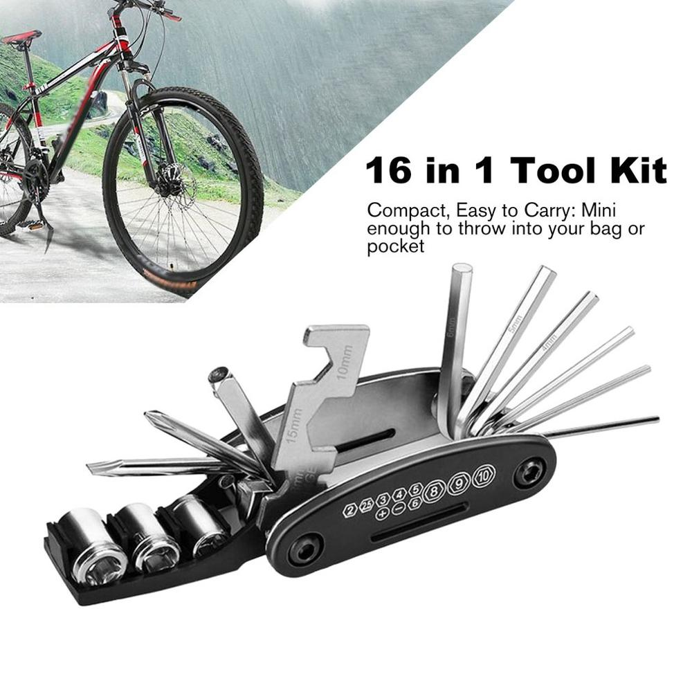 Bike Repair Set Bag Bicycle Multifunctional 16 In 1 Tool Kit Hex Key Wrench Tire Patch Lever Portable Handy Multi Tool