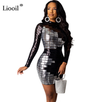 Liooil Black White Sexy Sequin Bodycon Mini Dress Women 2019 Autumn Winter Long Sleeve O Neck Night Club Party Tight Dresses