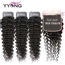 Yyong 3/4 Deep Wave Bundles With 5x5 Lace Closure 8-30 inch Peruvian Remy Human Hair Double Weft