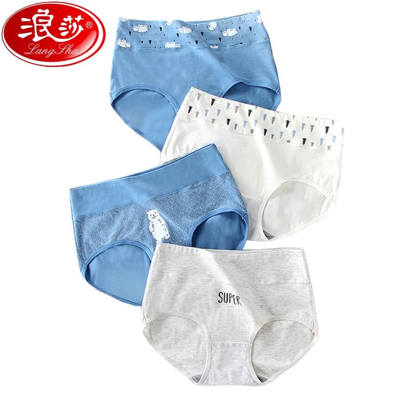 LANGSHA 4Pcs/lot High Waist Women Panties Soft Cotton Girls Underwear Seamless Briefs For Female Breathable Print Sexy Lingerie