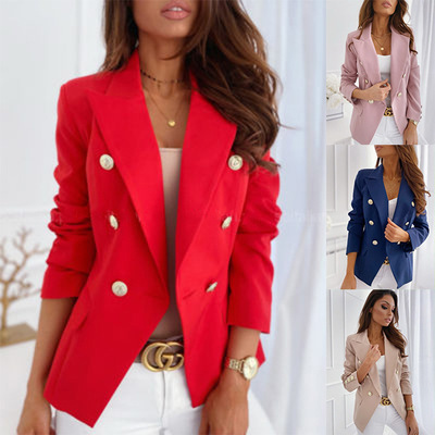 Women Spring Autumn Long Sleeve Blazers Double Button Ladies Office Workwear Blazer Coats