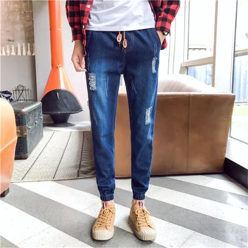 Ankle Banded Pants Lace-up Elastic Waist Skinny Pants Slim Fit Trousers Men's With Holes Jeans Autumn MEN'S Jeans