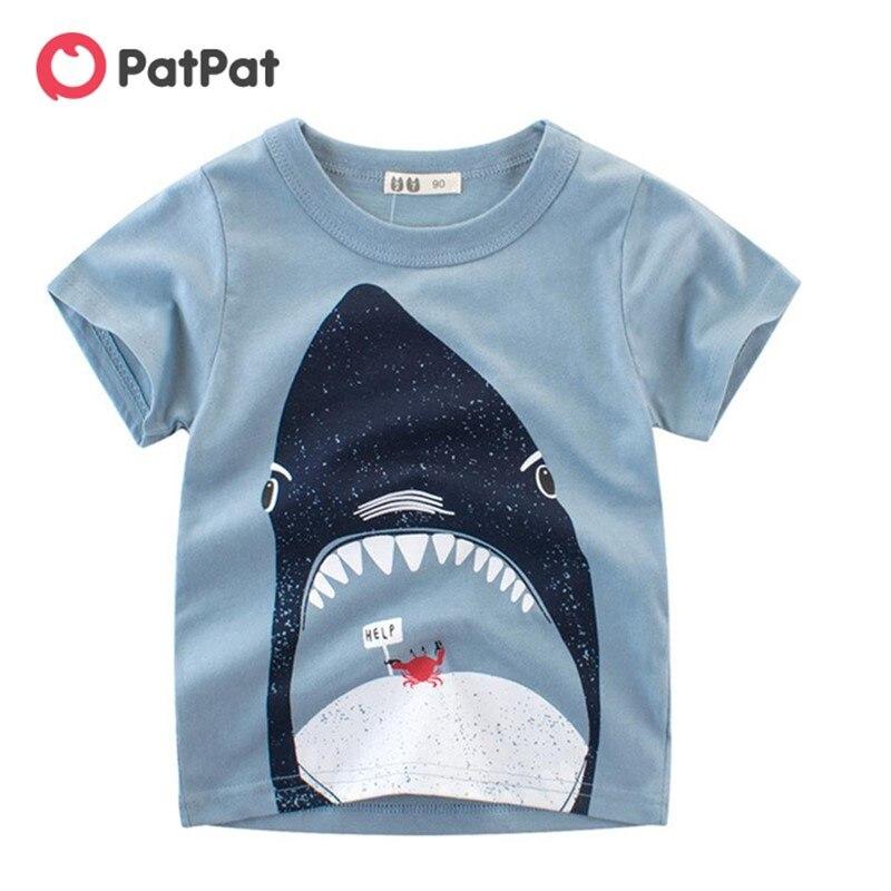PatPat 2020 Новая летняя стильная футболка с короткими рукавами и рисунком акулы, детские топы с короткими рукавами для мальчиков|Футболки| | АлиЭкспресс
