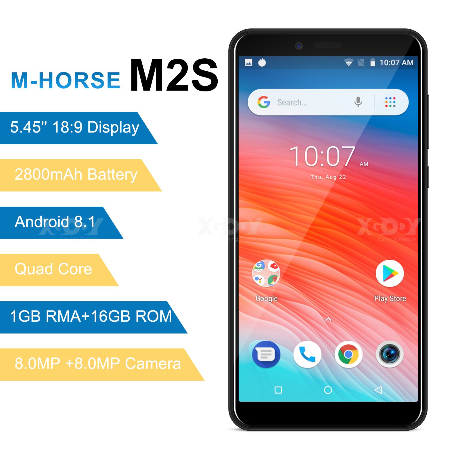 M-HORSE M2S Smartphone Quad Core Android 8.1 2800mAh Cellphone 1GB+16GB 5.45 Inch 18:9 Screen Dual Camera 3G Mobile Phone