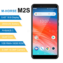 M HORSE M2S Smartphone Quad Core Android 8.1 2800mAh cep telefonu 1GB + 16GB 5.45 inç 18:9 ekran çift kamera 3G cep telefonu