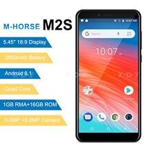 M HORSE m2s smartphone quad core android 8.1 2800 mah celular 1 gb + 16 gb 5.45 polegada 18:9 tela dupla câmera 3g telefone móvel