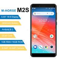 M-HORSE m2s smartphone quad core android 8.1 2800 mah celular 1 gb + 16 gb 5.45 polegada 18:9 tela dupla câmera 3g telefone móvel